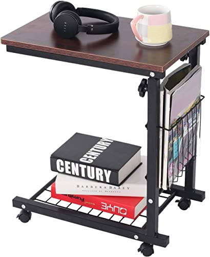Qwork Side Table End Table C Table Snack Table Computer Laptop Workstation Coffee Tray Mobile Height Adjustable Desk