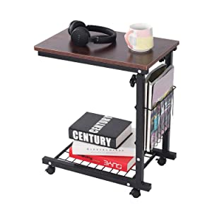 Qwork Side Table End Table C Table Snack Table Computer Laptop Workstation Coffee Tray Mobile Height Adjustable Desk With Storage For Small Spaces, Sofa, Couch, Bedside, Original Oak