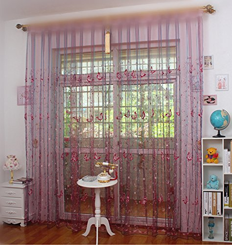ZWB Beautiful Butterfly Pattern Sheer Door Balcony Window Screen Curtain Tulle Panel
