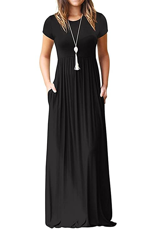 Euovmy Women's Short Sleeve Loose Plain Maxi Dresses Casual Long Dresses with Pockets Black Small