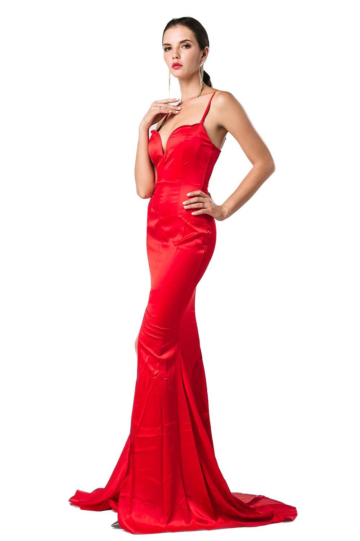 Missord Women's Bra Strapless Prom Maxi Dress Medium Red by Miss ord (Image #3)