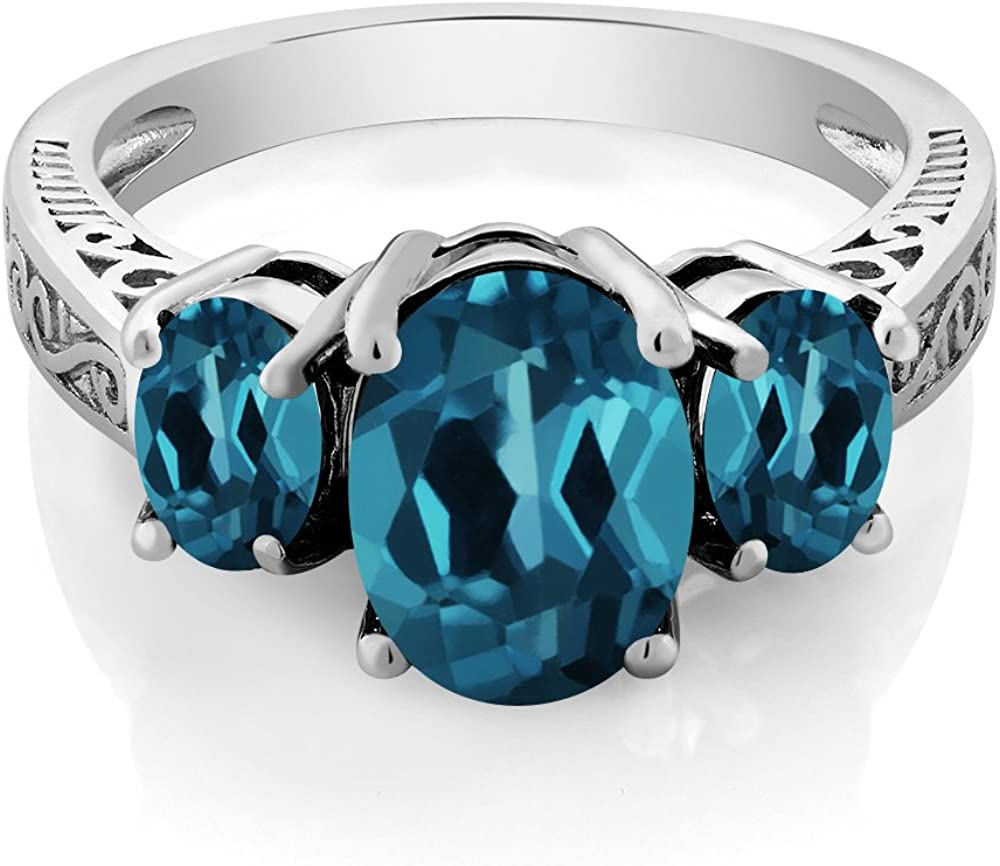 Gem Stone King 925 Sterling Silver London Blue Topaz Women's Engagement 3 Stone Ring (2.80 Cttw Oval, Available in size 5, 6, 7, 8, 9)