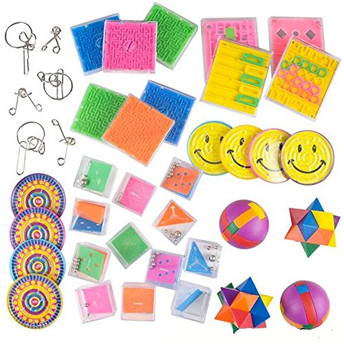 50 Pieces - Game Assortment Prize Box - Cool and Fun Assorted Educational Mini Games for Kids – Great Party Favor, Party Bag Stuffer,, Novelty Toys ()
