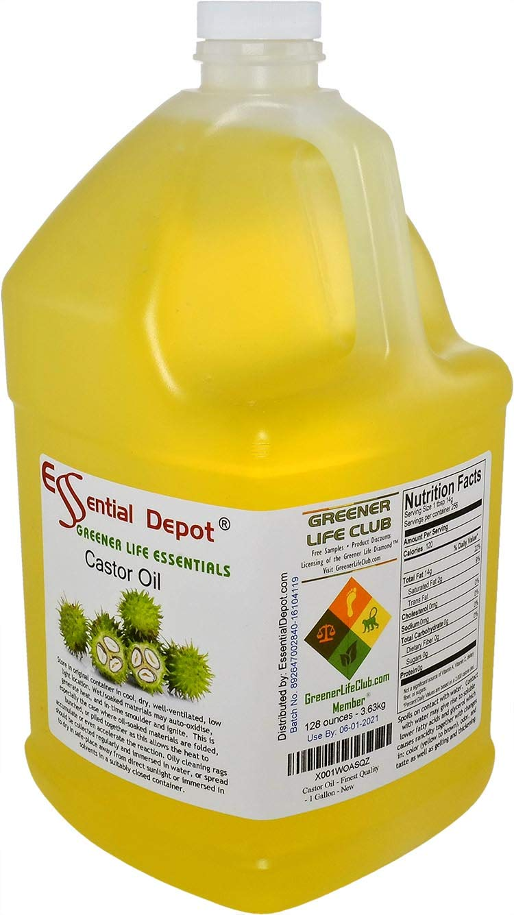 Castor Oil -1 Gallon - 128 oz - safety sealed HDPE container with resealable cap