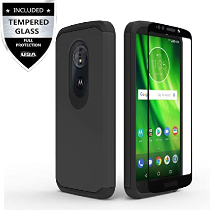 Moto E5 Play Case/Moto E5 Cruise Case with Tempered Glass Screen Protector,IDEA LINE Heavy Duty Protection Hybrid Hard Shockproof Slim Fit Cover for ...