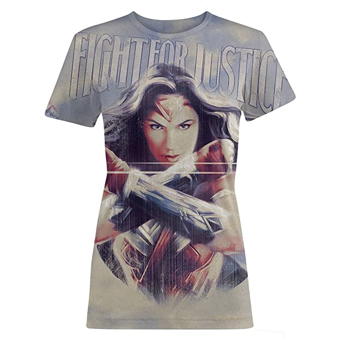 Wonder Woman - Camiseta modelo Fight For Justice para mujer: Amazon.es: Ropa y accesorios