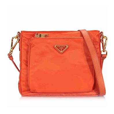 0f76582c1eec Amazon.com  Prada BT0693 Orange Papaya Tessuto Saffian Nylon and Leather Crossbody  Messenger Bag  Shoes