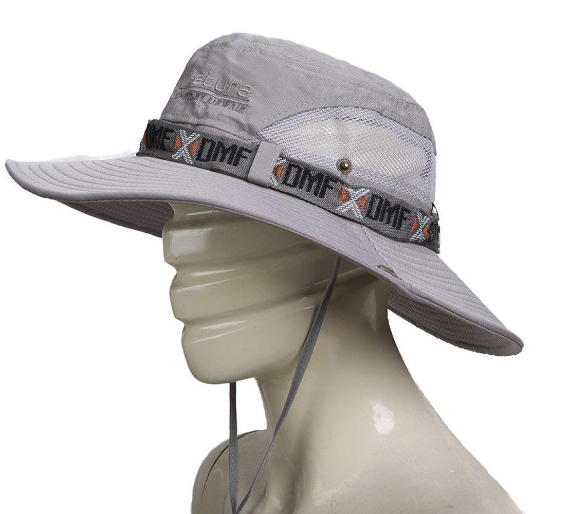 fee729bc1f538f Outdoor Hunting Hat Wide Brim Summer Hat Adjustable Packable Breathable  Polyester With Mesh.UPF 50 Protection for Men & Women (Gray)