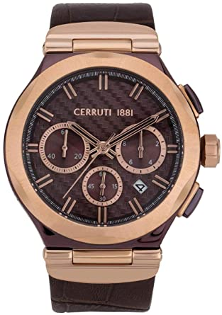 5b52e3859c Cerruti 1881 Men's Watch - Rose Gold Steel Dial - Brown Leather Strap -  CRA180SBRR12BR: Amazon.co.uk: Watches