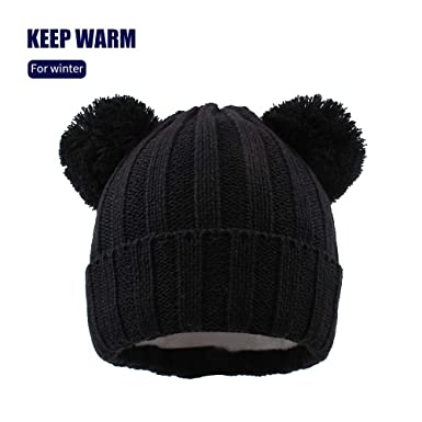 XIAOHAWANG Baby Knit Warm Hat Toddler Winter Thick Soft Stretch Beanie Cute  Pom Pom Cartoon Knitted 85f64a370ddc
