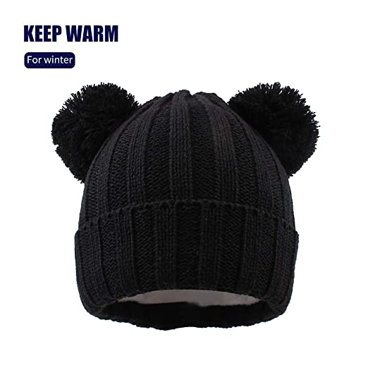 XIAOHAWANG Baby Knit Warm Hat Toddler Winter Thick Soft Stretch Beanie Cute  Pom Pom Cartoon Knitted 1f6ef1a0cd0