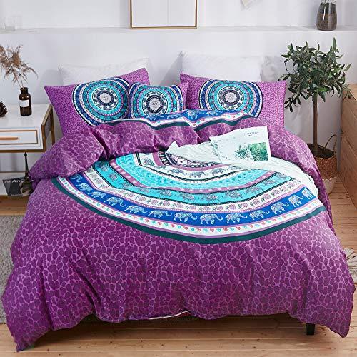 LAMEJOR Duvet Cover Sets Queen Size Purple Leopard Print/Elephant Patterns 4-Piece Bedding Set Comforter Cover