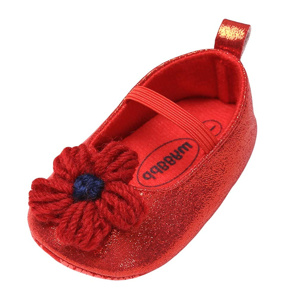 NUWFOR Baby Girl Leather Flower Shoes Keep Warm Fashion Toddler First Walkers Kid Shoe(Red,0~6 Month)