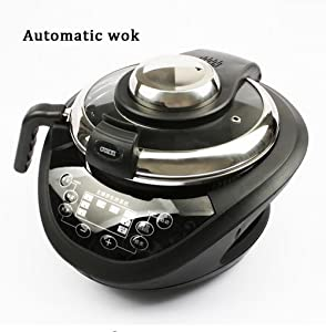 SHANGXIAN Electric Intelligent Woks Automatic Cooking Smokeless Non Stick Household Multifunctional Electromagnetic Wok,Black