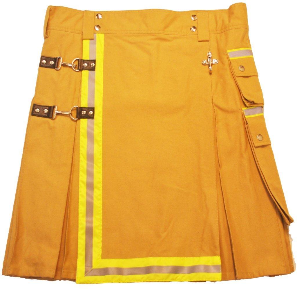 American Highlander Men's Firefighter Utility Kilt 42 Waist Tan/Reflective Yellow