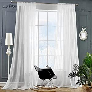 """Rod Pocket Sheer Curtains Window Voile Treatment Panels for Bedroom/Living Room Drapes Semi Transparent Poly Linen Textured Elegance White Curtains Set of 2 Panels (54"""" W x 95"""" L, Bleached)"""