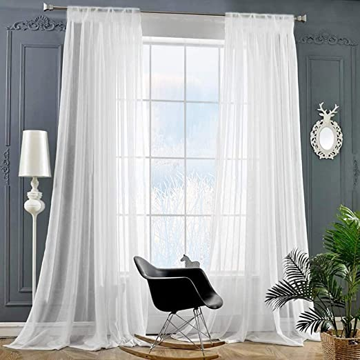 Amazon.com: Rod Pocket Sheer Curtains Window Voile Treatment