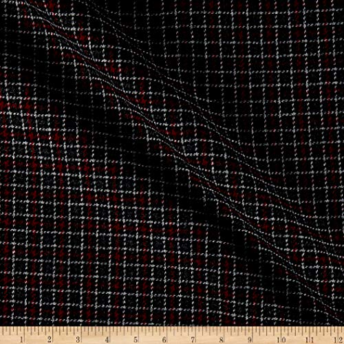 Tuva Textiles Wool Blend Coating Plaid Fabric, Red/Black, Fabric By The Yard