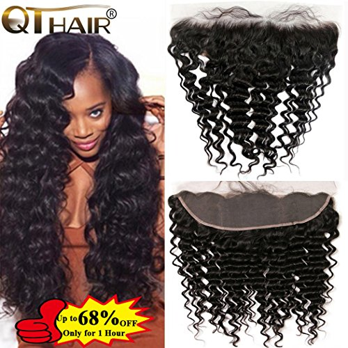 QTHAIR 10A Ear To Ear 13x4 Deep Wave Frontal Closure Brazilian Hair(20