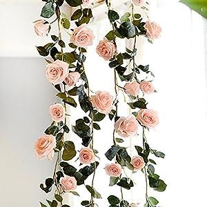 Adeeing Artificial Silk Rose Vines, Decorative Fake Rose Flower for Home Wall Garden Wedding Party Decor, 6 Feet 6