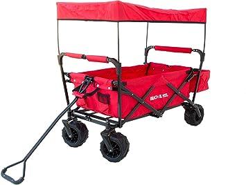 Carrito de madera plegable con techo y compartimento adicional, Offroad CARRO de transporte, mano carro, playa carro, rojo: Amazon.es: Jardín