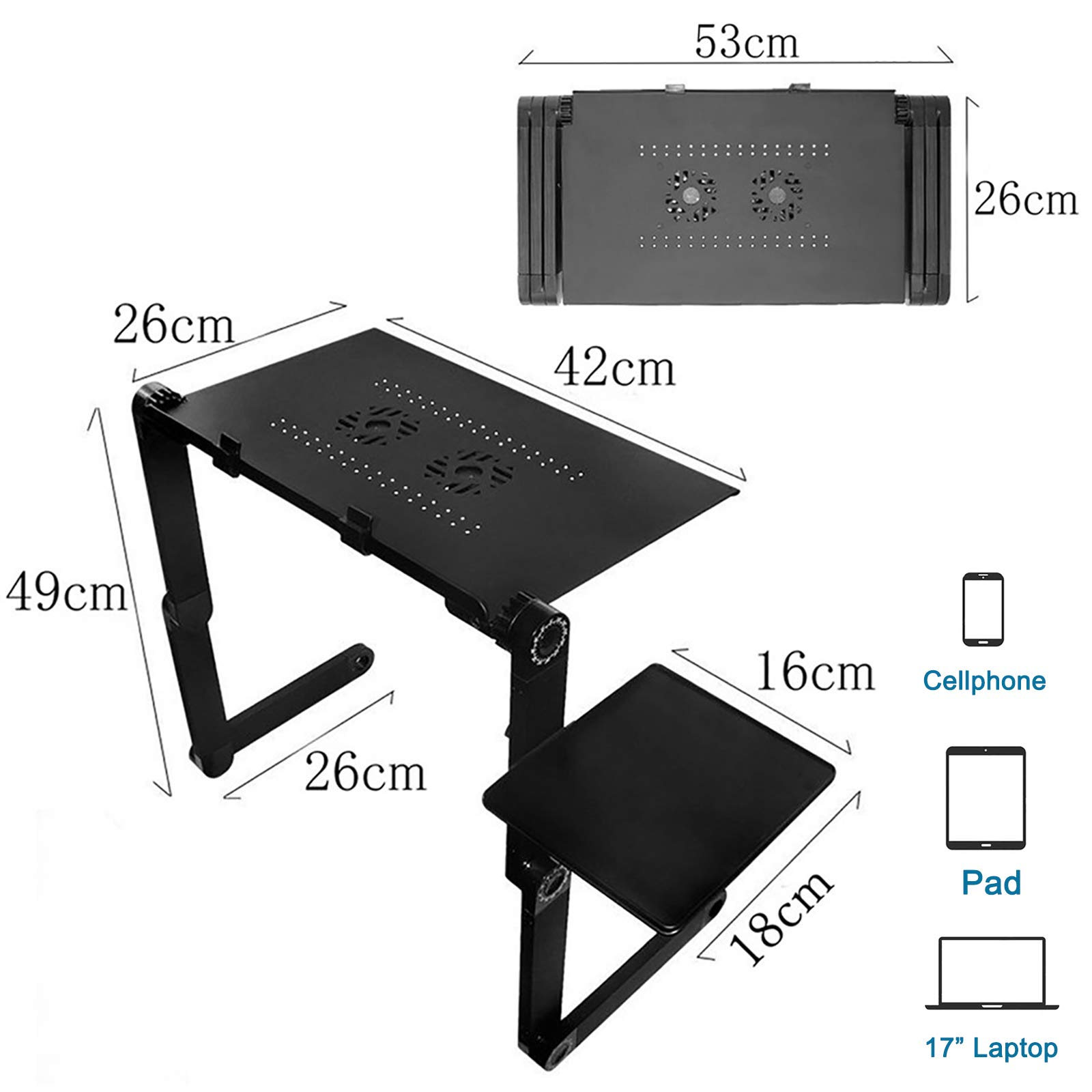 Voilamart Laptop Computer Stand Height Adjustable Laptop Tray Table for Sofa Bed PC Laptop Desk with Mouse Platform, 2 Cooling Fan (for Up to 17\