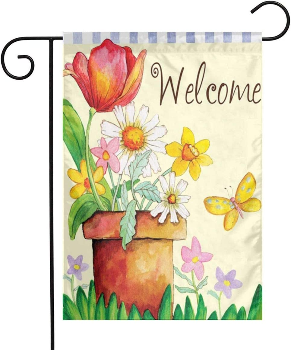 COWDIY Outdoor Garden Welcome Flag, Welcome Flowers Double Sided Colorful Design Seasonal Yard Flag for Farmhouse Yard Holidays Balcony 12.5 X 18 Inch Easy to Install