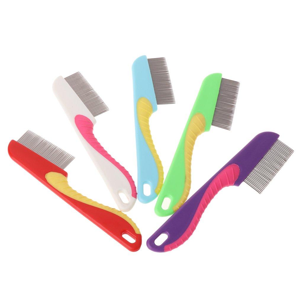 Mentin Chat Peigne Dense Dents Massage Propre Cheveux en Acier Inoxydable Animal Toilettage Brosses