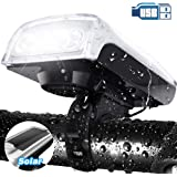 LETOUR Bike Light Solar Powered USB Rechargeable 3 Lighting Modes Bicycle Headlight LED Bike Front Headlight Waterproof for Cycling Riding