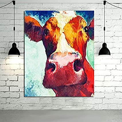 ceaebc0d013 Amazon.com  HASYOU Art 100% Handpainted Modern Cow Pictures Abstract ...