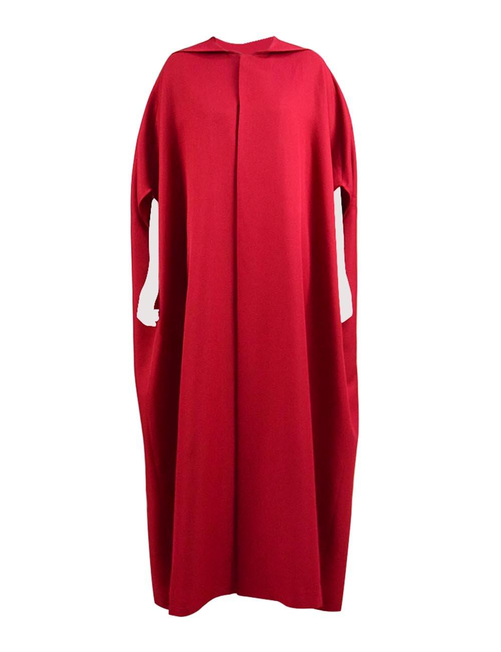 Expeke Halloween Party Women Handmaid Red Cape Dress Costume (XL, Cape)