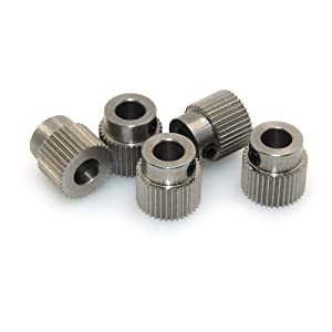 BIQU Extruder Pulley 36Teeth Bore 5mm Stainless Steel Drive Gear for 1.75mm & 3mm 3D Printer Filament (Pack of 5pcs)