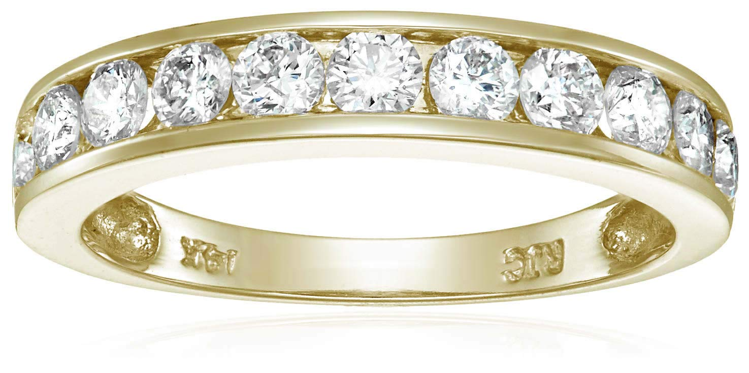 Vir Jewels 1 cttw Certified Diamond Wedding Band 14K Yellow Gold Channel I1-I2 Clarity In Size 9.5