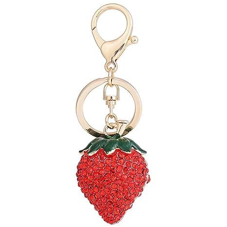 nikgic diamante Strawberry llavero llavero anillos llavero ...