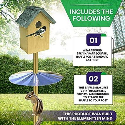 Amazon Com Erva Post Mounted Squirrel Baffle Galvanized 23 25 Dia Made In The Usa Garden Outdoor