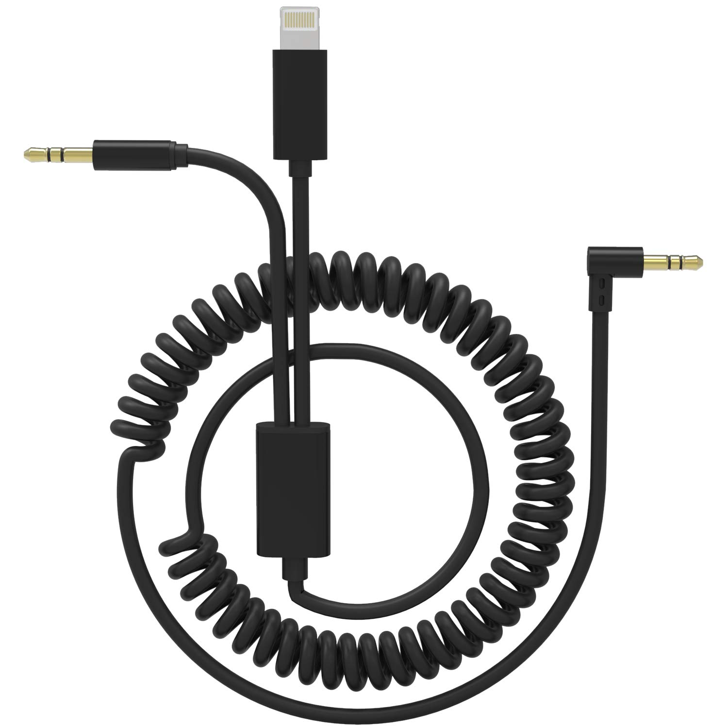 Dreamvasion Car Aux Cord Compatible for iPhone X 7, 2 in 1 Spring [Extend to 6.5ft] Audio Cable with 90 Degree 3.5mm Headphone Jack Adapter for iPhone 8/X/7 Plus, Android Phone to Car Stereo/Speaker