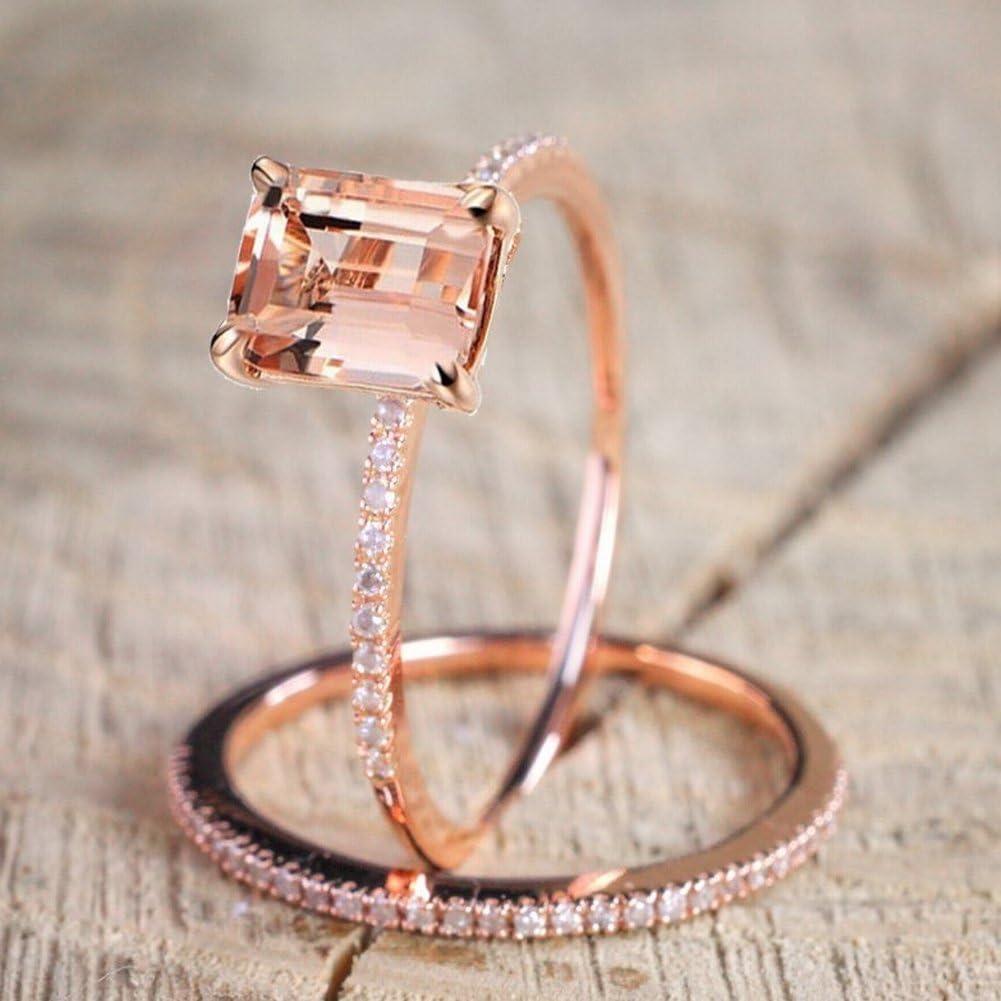 KLWKYA Europa Y América Plateado 18K Oro Rosa Diamante Compromiso Conjunto De Anillos Exquisito Tira De Circón Microinsertada Anillo,8