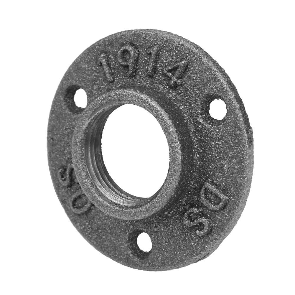 Liukouu 10pcs Black Malleable Iron Floor Flange BSP Threaded Fitting Pipe Antique Wall Flange DN25 1/'/'