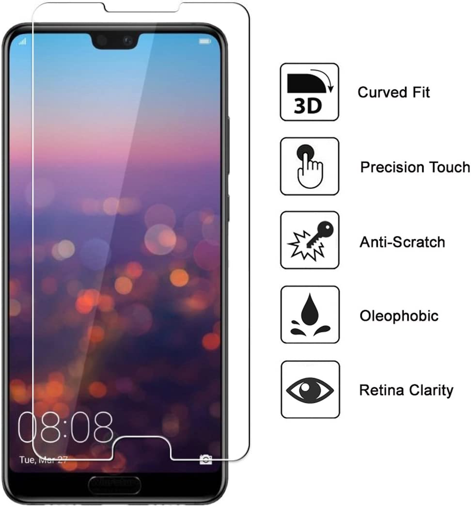 2 pack 9H Hardness Screen Protector for Huawei P20, No-Bubble 2.5D Round Edge Crystal Clear Scratch Resist EasyULT Premium Tempered Glass Screen Protector,with Double Defense Technology with