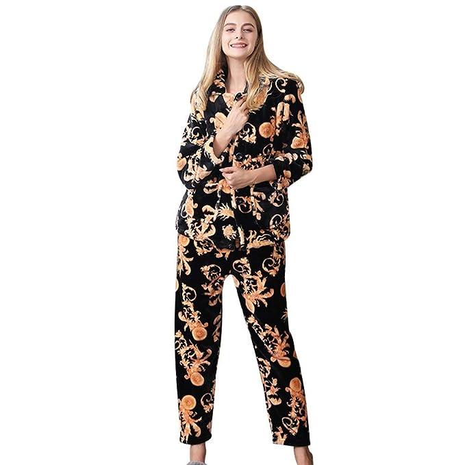 Pijamas Mujer Mujer Hombre Manga Larga Termica Franela Espesar Conjunto De Pijama Invierno Moda Vintage Elegantes Cómodo Suave Ropa De Noche Albornoz Batas: ...