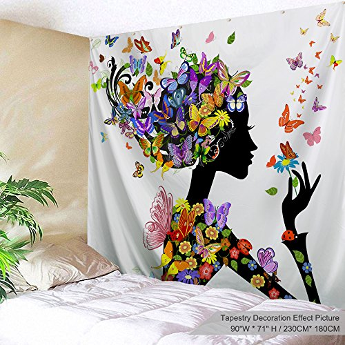 PROCIDA Home Tapestry Wall Hanging Nature Art Polyester Fabric African Woman Theme, Wall Decor for Dorm Room, Bedroom, Living Room, Nail Included - 90