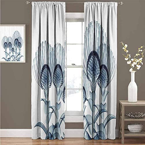 GUUVOR Xray Flower Decor Collection Room Darkened Heat Insulation Curtain Image of Exotic Plants Close Vision in Nature X-ray Uv Print Home Living Room W52 x L95 Inch Teal White