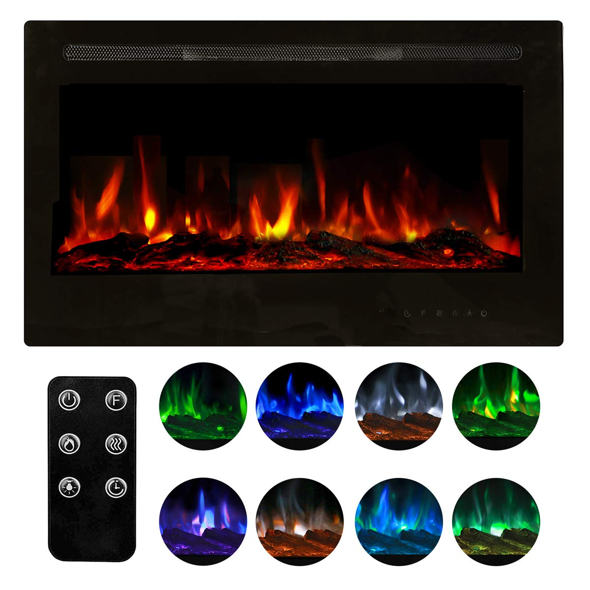 Homedex 36-inch Recessed Mounted Electric Fireplace Insert with Touch Screen Control Panel, Remote Control, 750/1500W, Black
