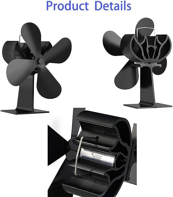 Ventiladores de chimenea aire caliente Circulator calor dinamico ventilador MUTE ventilador flujo fan carbón madera Pellet quemador interior ventilación ventilador soplador de accionamiento térmico: Amazon.es: Hogar