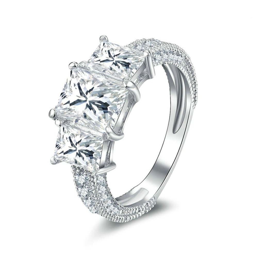 Bishilin Silver Plated Cubic Zirconia Inlaid Vintage Wedding Engagement Bands Solitaire Rings For Anniversary Band Her Size 6