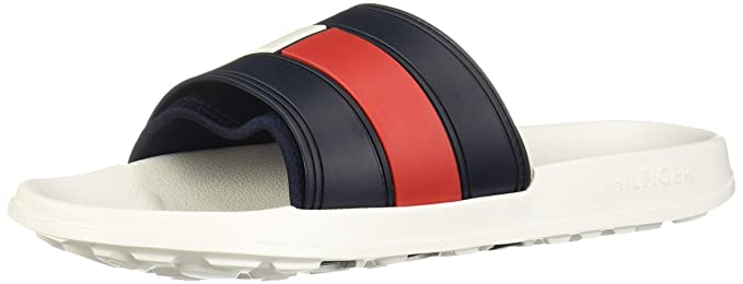 64cfa1a5 Tommy Hilfiger Flag Pool Mens Slide White Navy Red - 39-40: Amazon ...