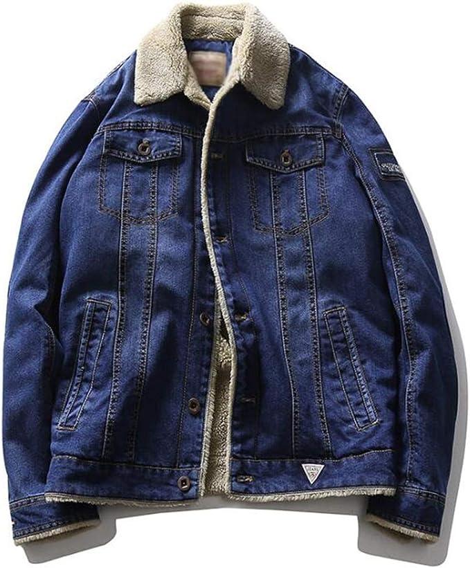 ケリメンズ豪華なフリースデニムジャケット、ウールの襟の子羊のベルベットの裏地デニムジャケットデニムジャケットキルティング