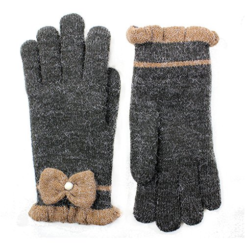 LL- Womens Warm Winter Knit Fashion Gloves, Fleece Lined- Assorted Styles and Colors (Pearl Dark - Hem Knit Furry