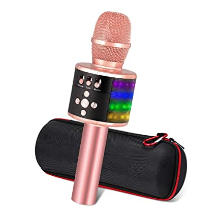 Ankuka altavoz inalámbrico para micrófonos de karaoke, 4 en 1 Reproductor portátil de KTV Bluetooth, Calidad de audio superior para cantar y grabar, ...