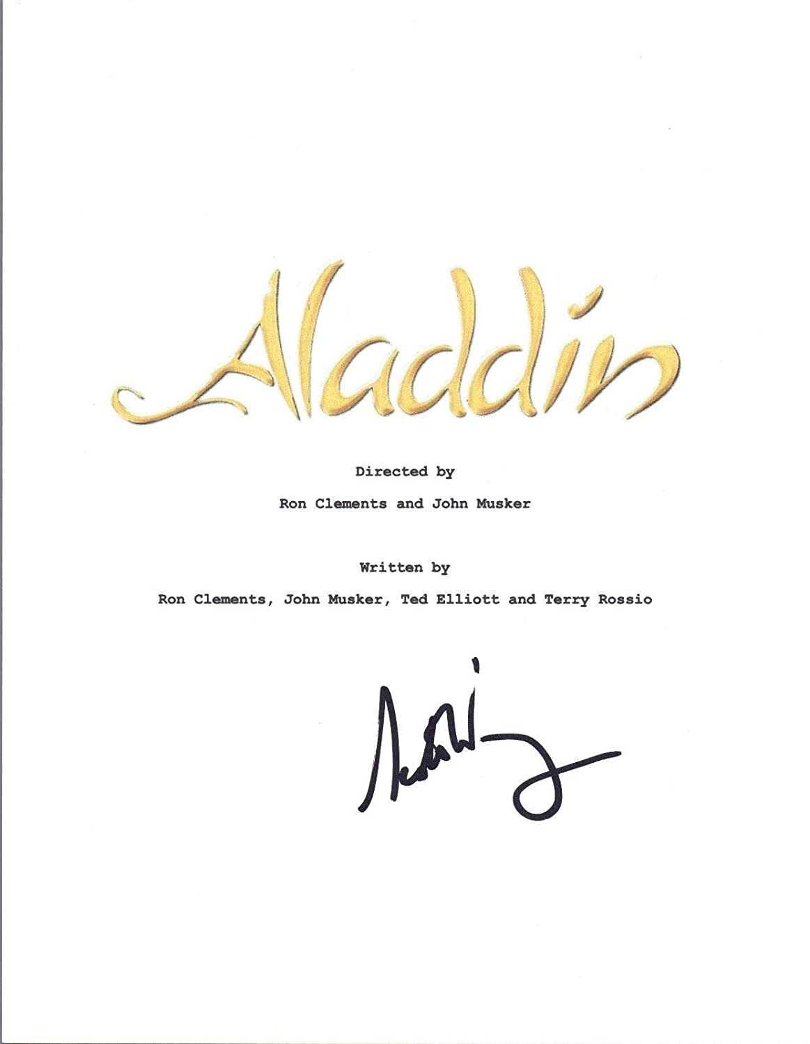 Scott Weinger Signed Autographed Disney's ALADDIN Movie Script COA Unbranded